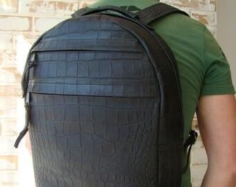 leather backpack/crocodile backpack/unisex backpack/black backpack/crocodile rucksack/crocodile print leather/embossed crocodile leather