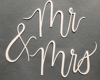 Mr and Mrs Chair Signs - Mr and Mrs Laser Cut Signs - Mr and Mrs Sweetheart Chair Signs - Wedding Decor Chair Signs - Gold Chair Signs