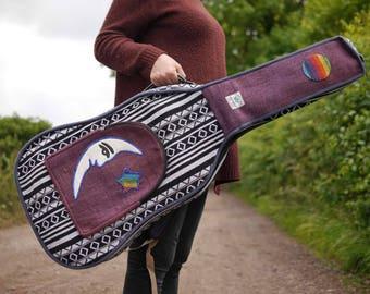 Unique * Moon & Stars * Hemp Acoustic Guitar Gig Bag Instrument Case Dreadnought Natural Hippie Vegan Festival Music Boho Purple Monochrome
