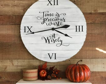 Wall Clock,Farmhouse Clock,Wooden Clocks,Farmhouse Wall Decor,Wood Clock,Rustic Wall Clock,Large Clock,Oversized Clock,Time is Precious