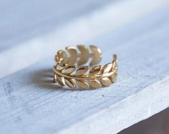 Gold Ring, Boho Gold Ring, Adjustable Boho Ring, Boho Stacking Ring, Gold Stacking Ring, Bohemian Rings, Gold Hippy Ring, Gold Leaf Ring