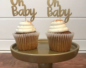 Oh Baby Cupcake Topper, Baby Shower, Gender Reveal Party