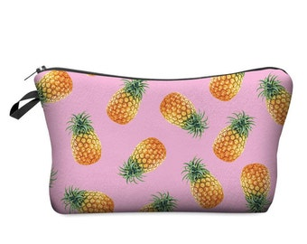 Pink Pineapple Zip up purse /cute cosmetic bag / pencil case