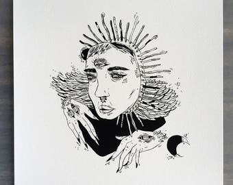 """Mother Art Print    8.5x11""""    Black and white print, ink illustration, archival"""