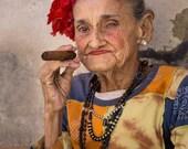 Cuban Lady with Cigar, Cuba Photography, Cuba Print Art, Cigar Art, Cuban Cigar, Woman Portrait, Fine Art Photography, Vertical Wall Art