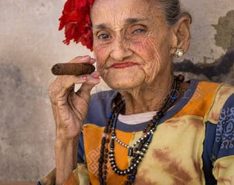 Cuban Lady with Cigar, Cuba Photography, Cuba Print Art, Cigar Art, Cuban Cigar, Woman Portrait, Fine Art Photography, Vertical Wall Art