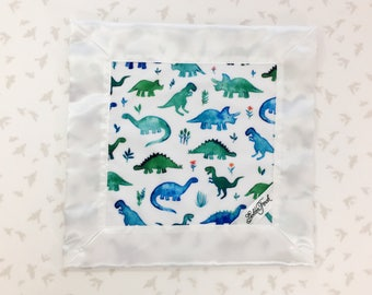 Dinosaurs Lovie / Lovey, Personalized Baby Lovie, Small baby Blanket,Satin Baby Lovey Blanket,Lovie Blanket,Dino Security Blanket,Dino Lovey
