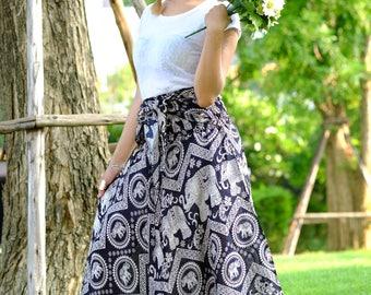 Elephant Skirt Long skirt hippie Skirt beautiful skirt Black