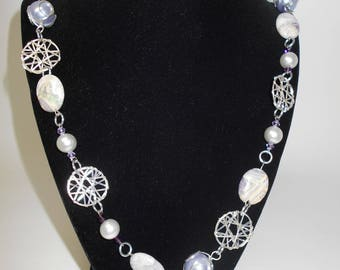 Silver, Purple, and Stone Necklace