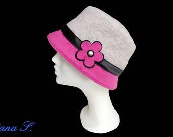 Hat Loden wool, light grey lilac, flower, rivets, size 53-54