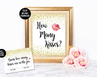 Guess How Many Kisses Sign & Cards | Kisses in the Jar | Bridal Shower Game | Gold Glitter Confetti | Black White Gold | Instant Download