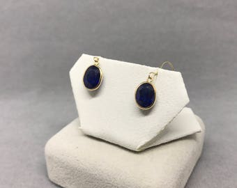 14K Yellow Gold Natural Sapphire (7.10 ct) Earrings, Appraised 1,271 USD