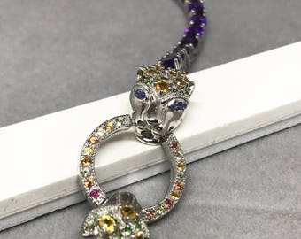 Sterling Silver Bracelet with Natural Sapphire, Natural Amethyst and Natural Diopside, Appraised 2,285 CAD