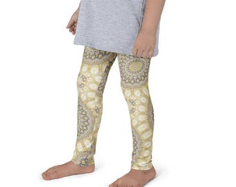 Funky and Fun Leggings for Girls, Kids Yoga Leggings, Mustard Yellow and Gray Children's Activewear