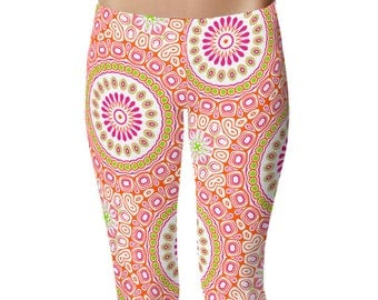 Colorful Spring Leggings, Bright Patterned Yoga Tights, Pink and Orange Mandala Flower Yoga Pants