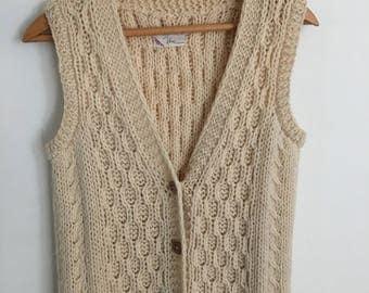 Vintage Wool Sweater Vest 100% Wool Cream