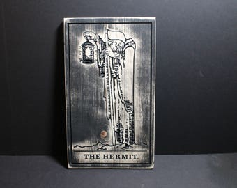 The Hermit Tarot Card Carved in Wood | Fortune Telling