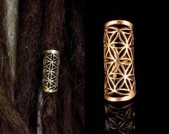 Dread bead dreadlock jewelry flower of life sacred geometry rasta brass hair decoration seed of life DB1