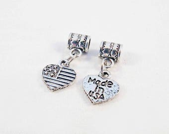 BVV20 - 2 pendants charms heart with bail and Silver Stars Stripes United States USA American flag