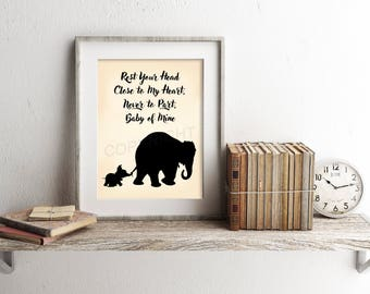 Dumbo and Mother Baby of Mine Silhouette Art Print