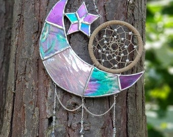 Stained Glass Crescent Moon and Star Dream Catcher Suncatcher/ Window Hanging/Wall Hanging/ Room Decor