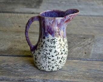 Large handmade pottery purple pitcher