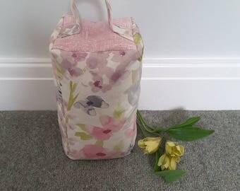 Pink Floral Door Stop, Handmade, Fabric Door Stop, Cottage Style, Shabby Chic, Pink Door stop, Gift for Her, Housewarming Gift,