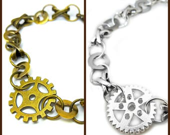 Steampunk bracelet, bronze bracelet, unisex bracelet, womens bracelet, mens bracelet, mens steampunk, silver bracelet,  womens steampunk,