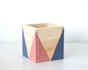 Wooden storage pot (various colours) -  EtsyxAnnieSloan -  Desk tidy - Desk organiser - Geometric box - Pen pot - Cactus pot
