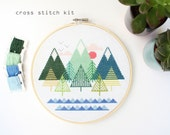 Sea To Sky - Modern Counted Cross stitch kit - Easy DIY cross stitch kit