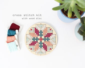Abstract Flower - Winter - Modern DIY wood cross stitch kit - Beginners cross stitch kit - Kids cross stitch kit