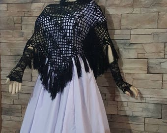 Hooded cape ,Black crochet hooded gothic Victorian steampunk cape ,poncho,costume accessories (7)