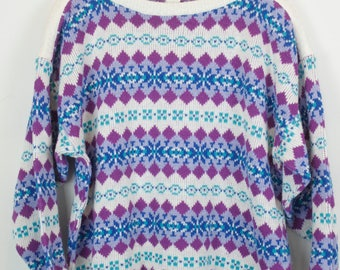 Vintage Sweater, Vintage Knit Pullover, 80s, 90s, multicolor, pattern, oversized look