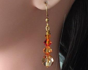 Swarovski Crystal Orange/Pink Drop Earrings