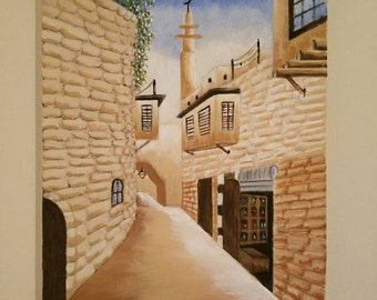Original Handmade Acrylic painting on canvas. Syrian Style building
