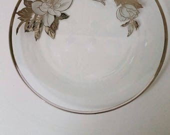 Silver Overlay Clear Plate -Floral Pattern