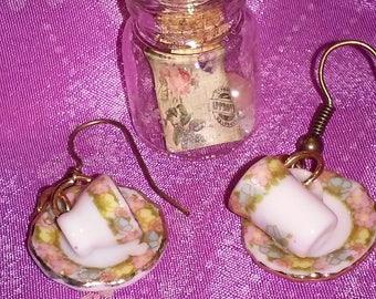 Bottle pendant and teacup earrings