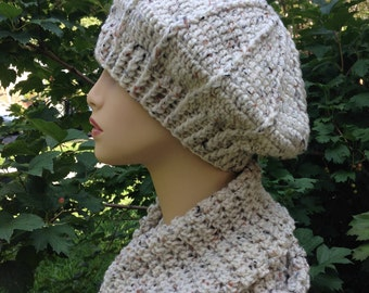 women hat and scarf set, beret and cowl set, chemo, teens, oatmeal, wheat, rts, cable hat, flower, wooden button, gift for mom, fall, winter