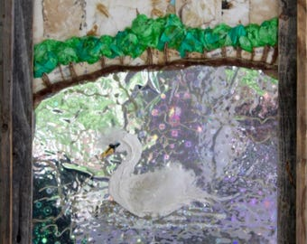 Swan on Lake Mirror Lakeland Florida BoiLeD BooKs Mixed Media Framed 3D Wall Art - Paper, Paint, Feathers