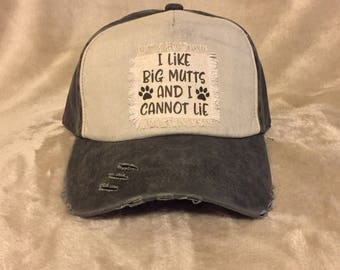 "Black and white Baseball Hat with ""I like big Mutts and I cannot lie"""