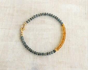 Citrine & Kyanite Bracelet and Gold filled, Delicate Multi Gemstone Bracelet, Beaded Stacking Bracelet, Citrine Jewelry, November Birthstone