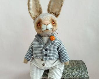Teddy Rabbit Christopher Artist teddy bear Teddy Toy Rabbit toy OOAK teddy Gift for her Toy handmade Funny rabbit Bunny Gift toy hare Rabbit