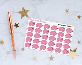 Piggy Bank Planner Stickers, Savings Stickers, Money Stickers, Vinyl Stickers