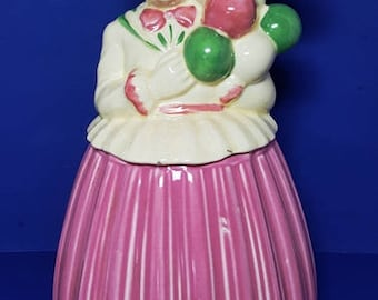 Vintage Balloon Lady Cookie Jar by Pottery Guild, Rare 1940's