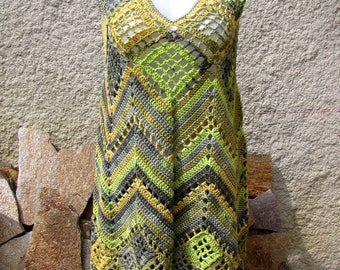 Dress knitted tunic with straps hand crochet in pure cotton grey green ochre for woman