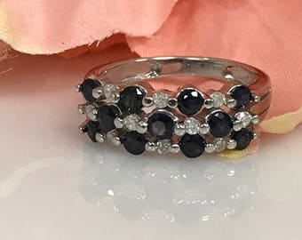 Sapphire and Diamond Statement Ring in 14K White Gold #1597