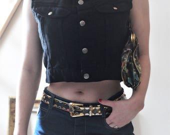 Original Big Star Dungarees Vest - 80's 90's Vintage denim vest - lumberjack style jacket sleeveless black denim work
