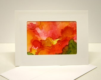 Paper Handmade greeting card abstract art. blank greeting card,envelope, art collectable alcohol ink red yellow orange  green one of a kind