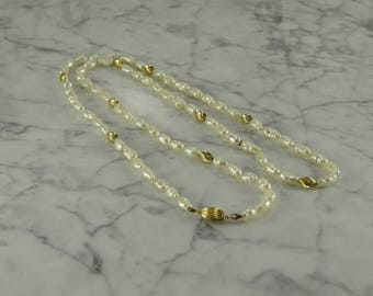 "14K Gold Pearl Necklace (28"")"