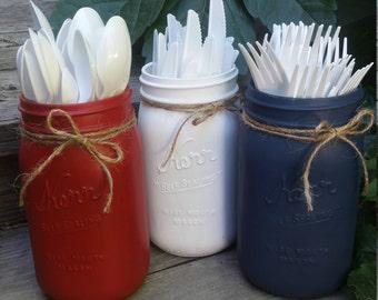 Jars - Holidays, July 4th, RED, WHITE, BLUE, Patriotic, American Flag, vase, floral, flowers, silverware holder